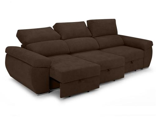 Sliding seats and reclining backrests of the Cartagena sofa. Dark brown fabric