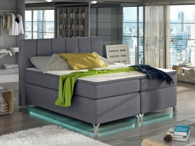 Bed with LED lights, 140 x 200, mattress, storage, headboard, topper - Barbara. Light grey fabric soro 93