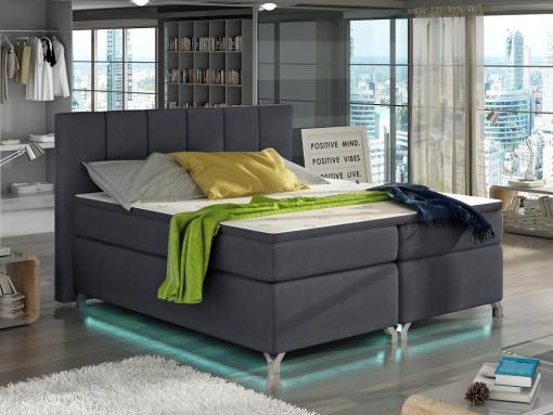 Bed with LED lights, 140 x 200, mattress, storage, headboard, topper - Barbara. Dark grey fabric soro 95