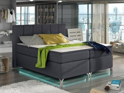Кровать с подсветкой, 180 x 200 см, с матрасом, изголовьем и топпером - Barbara. Тёмно-серая ткань