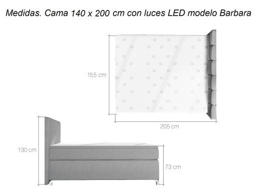 Dimensions of bed with LED lights - Barbara 140 x 200 cm