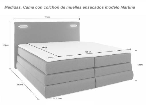 Dimensions of the Martina bed