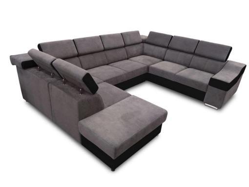 Sofá 7 plazas en forma de U con cama extraíble y reposacabezas reclinables - Cannes. Brazo lado derecho. Tela gris oscuro con polipiel negra