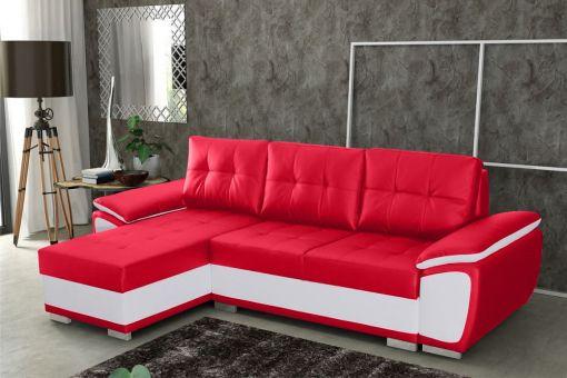 Sofá chaise longue cama en polipiel rojo y blanco - Kingston. Chaise longue lado izquierdo