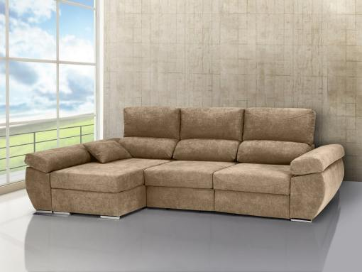 Chaise longue sofa bed with sliding seats, reclining backrests, storage – Marbella. Beige fabric. Chaise longue on the left
