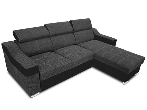 Chaise longue sofa bed with high headrests - Albi. Grey fabric, black faux leather. Chaise longue mounted on the right