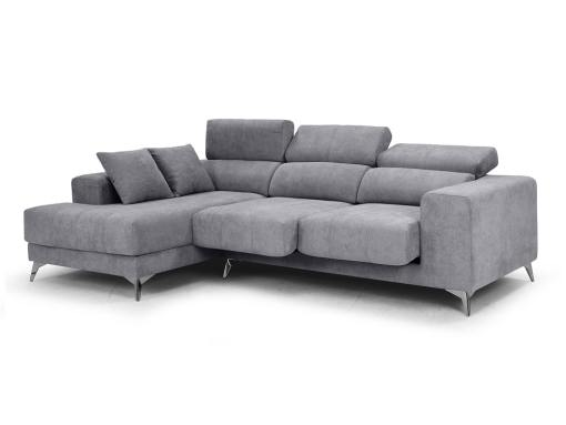 Sliding seats and reclining headrests of the Nashville sofa. Light grey fabric. Chaise longue on the left
