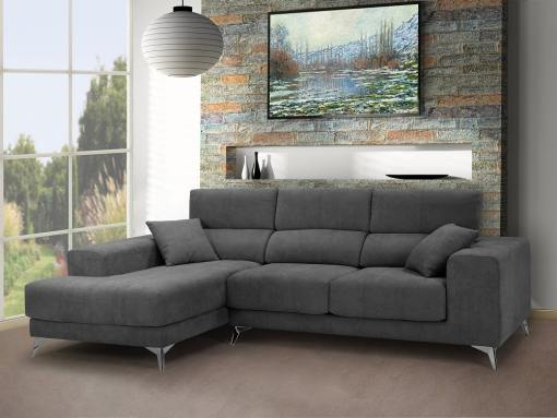 Chaise longue sofa with sliding memory foam seats - Nashville. Grey fabric. Chaise longue on the left