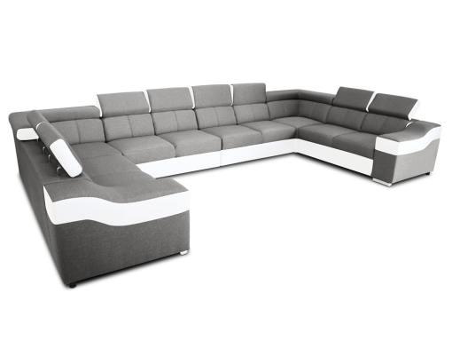 """10-местный диван в форме буквы """"П"""", XXXL - Paris. Светло-серая ткань, белая искусственная кожа"""