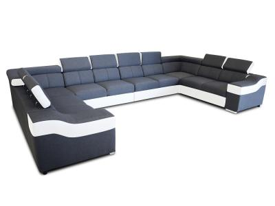 Sofá en forma de U, de 10 plazas, XXXL - Paris. Tela gris, piel sintética blanca