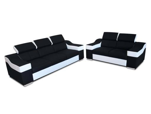 Set: 3 seater + 2 seater sofas with reclining headrests and wide armrests - Grenoble