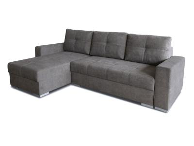 Large chaise longue sofa with bed and storage - Alberta. Grey fabric. Chaise longue on the left