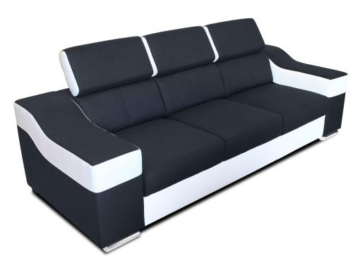 3 seater sofa with reclining headrests and wide armrests - Grenoble. Black and white