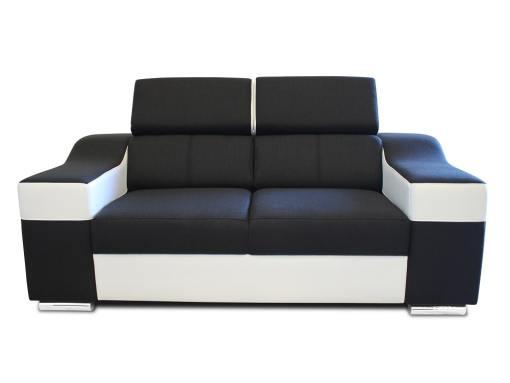 Vista frontal. Sofá dos plazas blanco y negro con reposacabezas reclinables - Grenoble