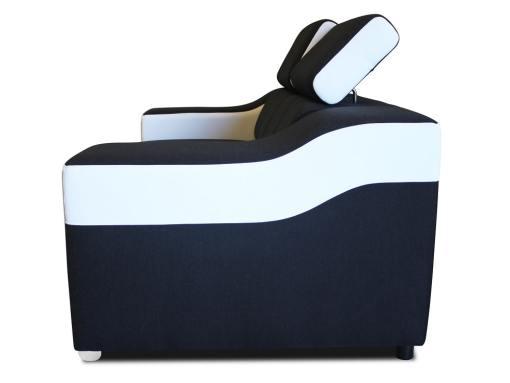 Vista lateral. Sofá dos plazas blanco y negro con reposacabezas reclinables - Grenoble