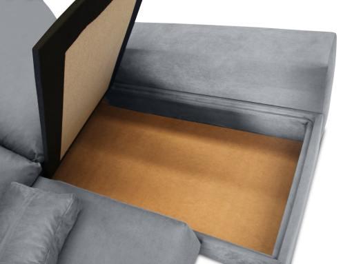 Arcón de almacenaje bajo chaise longue. Sofá modelo Nantes