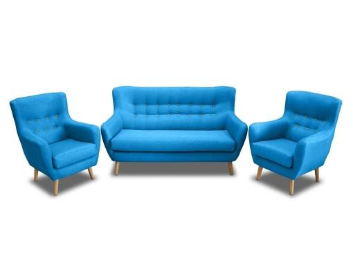 Conjunto de un sofá 2 plazas de diseño con botones y 2 sillones – Stockholm. Tela azul, botones amarillos