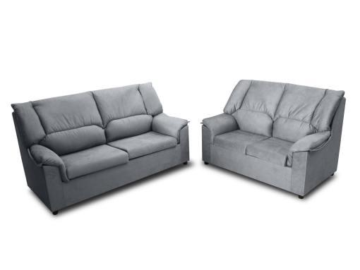 Недорогой комплект: 3-местный и 2-местный диваны - Nimes. Серая пятноустойчивая ткань