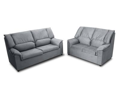 Inexpensive set of 3 seater sofa and 2 seater sofa - Nimes. Grey stain resistant fabric