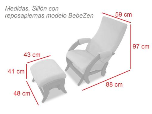 Dimensions. Glider nursing chair and footstool - BebeZen