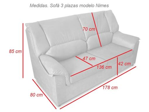 Dimensions of the 3-seater sofa - Nimes