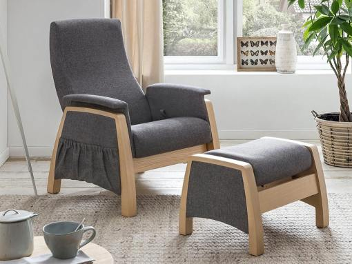 Gliding armchair and footstool, 2 swinging mechanisms - Ringsted. Grey fabric