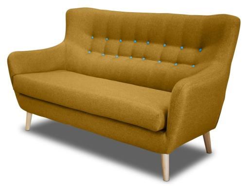 Двухместный диван, спинка с пуговицами - Stockholm. Жёлтая ткань, голубые пуговицы