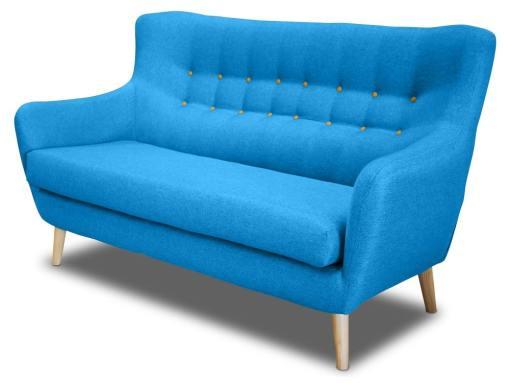 Двухместный диван, спинка с пуговицами - Stockholm. Голубая ткань, жёлтые пуговицы