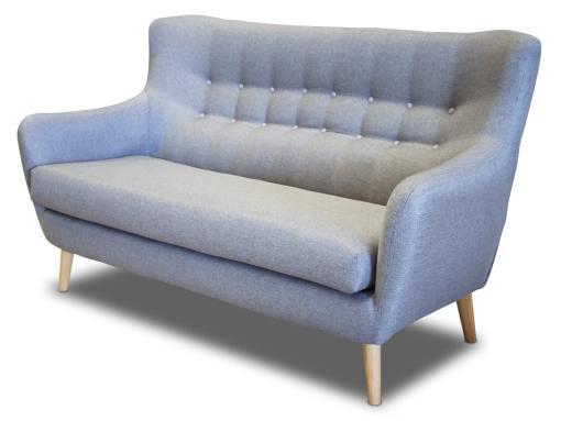 Двухместный диван, спинка с пуговицами - Stockholm. Серая ткань