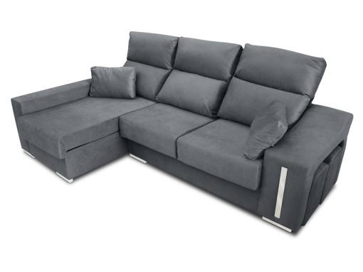 Chaise longue sofa Nantes with sliding seats in closed position. Grey fabric. Chaise longue on the left