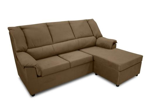 Sofá chaise longue pequeño económico - Nimes. Tela marrón, chaise longue montada a la derecha
