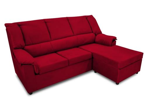 Small inexpensive chaise longue sofa  - Nimes. Dark red fabric. Chaise longue on the right