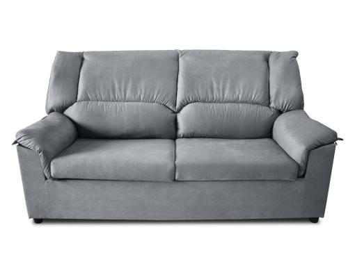 Front view. Small inexpensive 3-Seater sofa - Nimes. Grey stain resistant fabric