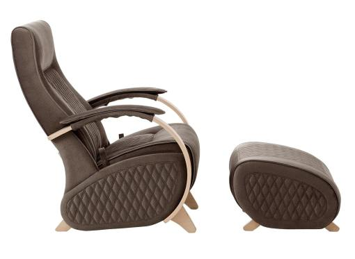 Side view. Glider rocking chair with a fixed base and footstool - Dubai