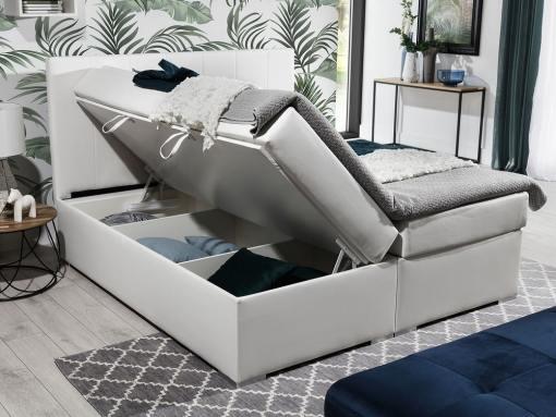 Arcón abierto de la cama blanca, 180 x 200 cm, modelo Monica