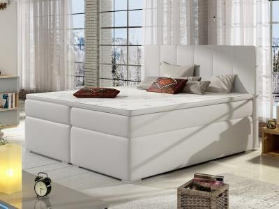Cama 180 x 200 blanca, tapizada en piel sintética, con arcones - Monica