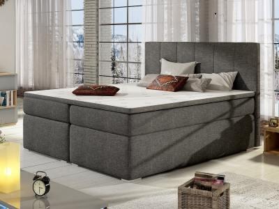 Кровать 180 x 200 см, с отделениями для хранения - Monica. Серая