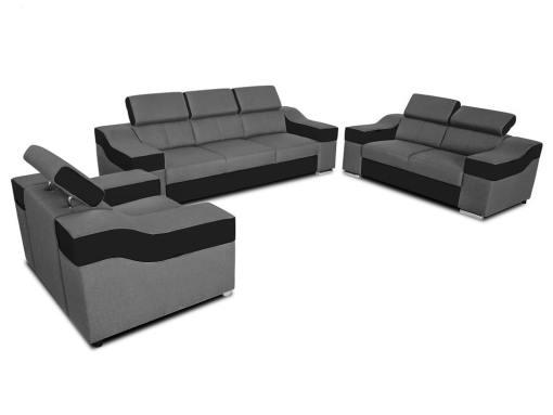 Conjunto 3+2+1 - sofá 3 plazas, 2 plazas, 1 sillón, reposacabezas reclinables - Grenoble. Tela gris, polipiel negra
