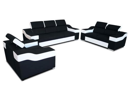 Conjunto 3+2+1 - sofá 3 plazas, 2 plazas, 1 sillón, reposacabezas reclinables - Grenoble. Tela negra, polipiel blanca