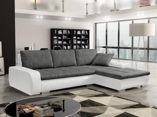 Sofá chaise longue cama con arcón, tela imitación lino - Richmond. Tela gris, piel sintética blanca. Chaise longue lado derecho