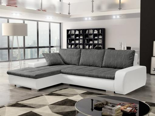 Sofá chaise longue cama con arcón, tela imitación lino - Richmond. Tela gris, piel sintética blanca. Chaise longue lado izquierdo