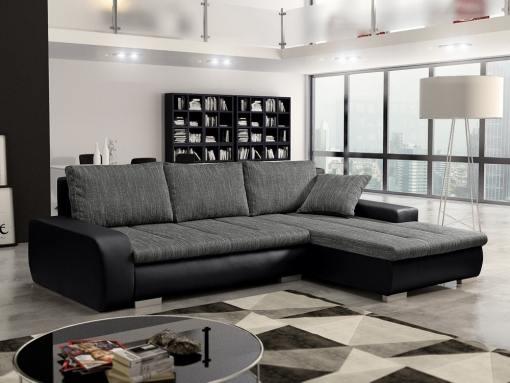 Sofá chaise longue cama con arcón, tela imitación lino - Richmond. Tela gris, piel sintética negra. Chaise longue lado derecho