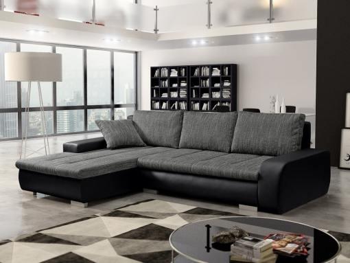 Sofá chaise longue cama con arcón, tela imitación lino - Richmond. Tela gris, piel sintética negra. Chaise longue lado izquierdo