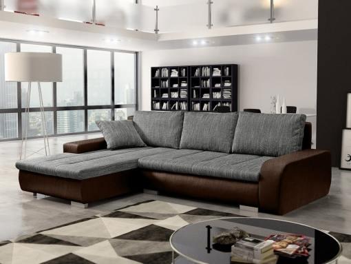 Sofá chaise longue cama con arcón, tela imitación lino - Richmond. Tela gris, tela marrón. Chaise longue lado izquierdo