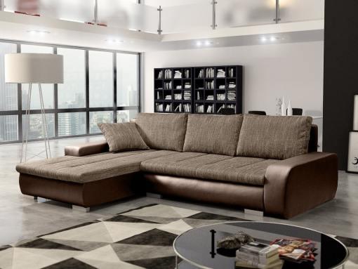 Sofá chaise longue cama con arcón, tela imitación lino - Richmond. Tela marrón, piel sintética marrón. Chaise longue lado izquierdo