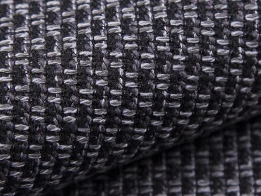 Tela gris oscuro (Majorka 3) del sofá rinconera con puf Lyon