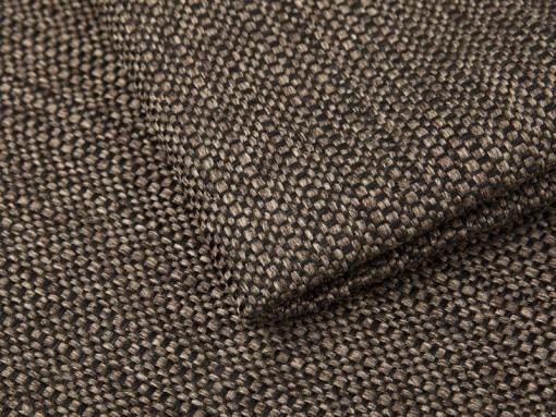 Tela imitación lino, color marrón del sofá chaise longue grande modelo Vernon