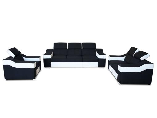 Vista frontal. Conjunto Grenoble en blanco y negro. Sofá 3 plazas, 2 plazas, 1 sillón