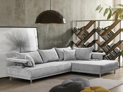 Modern corner sofa with chrome legs - Brandon. Corner on the right