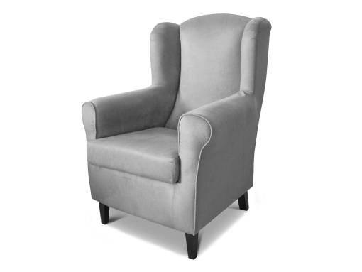 Armchair upholstered in stain resistant fabric - Amiens. Grey fabric